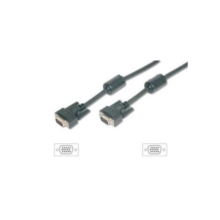 Equip Kábel - 118814 (VGA kábel, HD15, ferrit gyűrűvel, duplán árnyékolt, apa/apa, 10m)