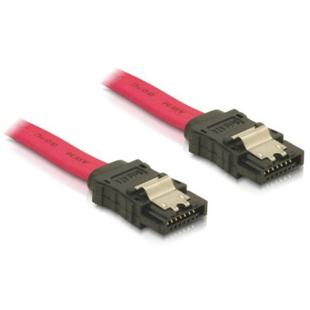 Delock Kábel - 84302 (SATA II, egyenes/egyenes csatlakozó (fémlappal), Max.: 3Gbps, piros, 50cm)